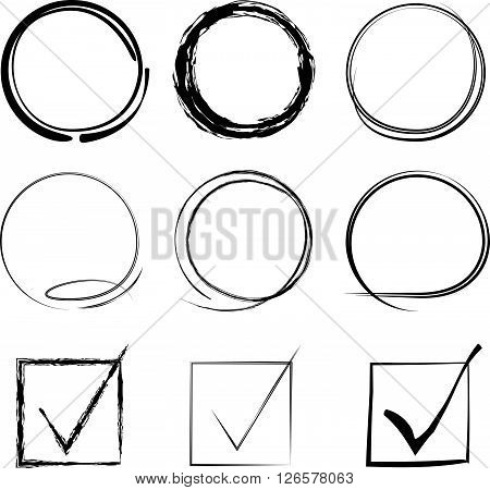 collection of 9 circle highlighter and tick marks