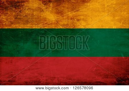 Lithuanian flag with some soft highlights and folds