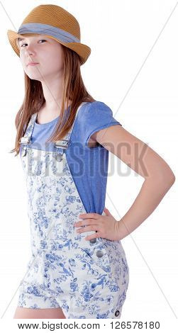 Pretty young girl portrait on white background
