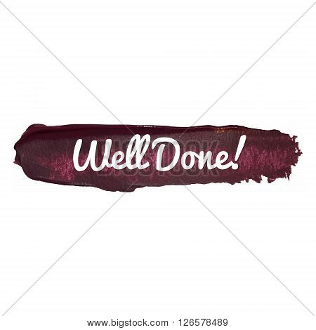 Well Done Vector Word Hand Drawn Illustration Icon Card Isolated