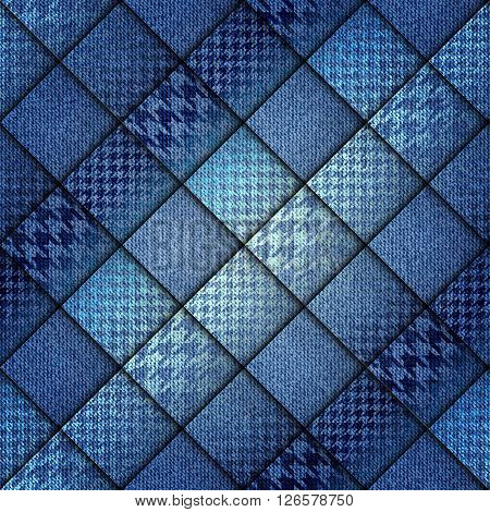 Seamless background pattern. Abstract diagonal plaid pattern. Plaid of a Hounds-tooth patterns. Denim fabric.