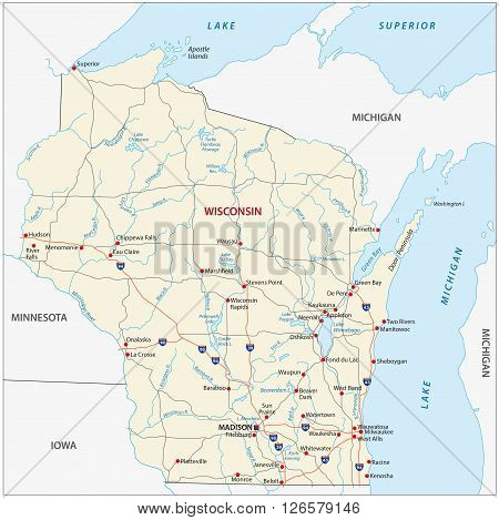 Road map of the US American Federal State Wisconsin