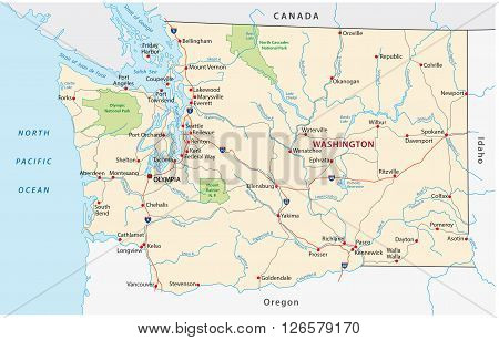 road map of the US American Federal State Washington