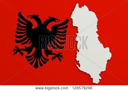 Silhouette Of Albania Map With Flag