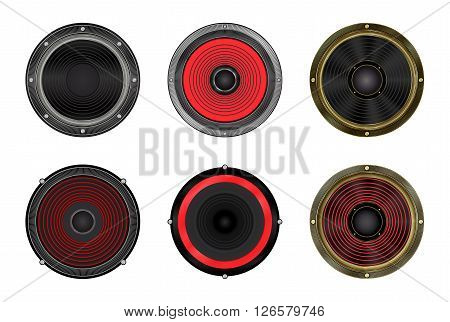 vector set of round speakers on a white background
