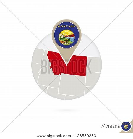 Montana Us State Map And Flag In Circle. Map Of Montana, Montana Flag Pin. Map Of Montana In The Sty