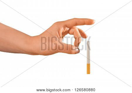 Woman trying to quit smoking by pushing it away of her isolated on white.