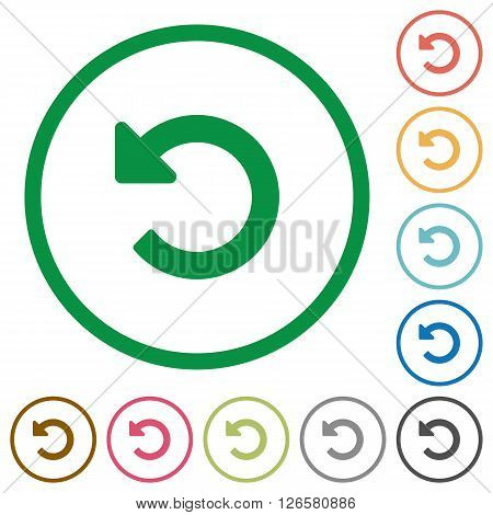 Set of Undo changes color round outlined flat icons on white background