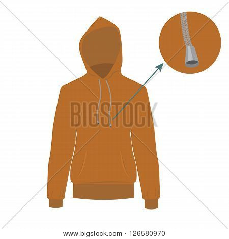 Hooded sweater. Vector Hoodie with solid and flat color design. Brown Sweater for fashion concept infographic.