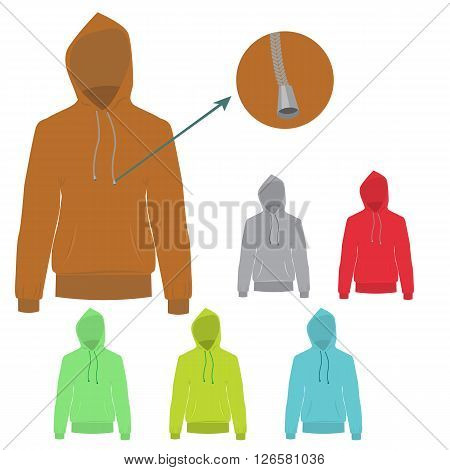 Set of colorful Hooded sweater. Vector Hoodie with solid and flat color design. Sweater for fashion concept infographic.