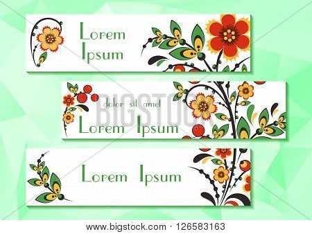 Cute banners in three versions with Khokhloma floral ornament. Wish labels For Women's Day Mother's Day Birthday Anniversary. Vector illustration
