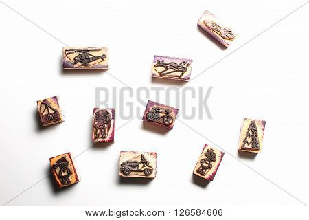 Set of old wooden childrens rubber stamps