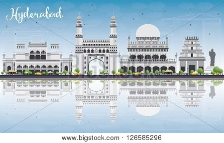 Hyderabad Skyline with Gray Landmarks, Blue Sky and Reflections. Vector Illustration. Business Travel and Tourism Concept with Historic Buildings. Image for Presentation Banner Placard and Web Site.