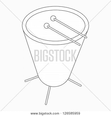 Timpani drum icon in isometric 3d style isolated on white background
