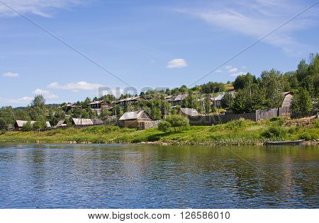 rural summer landscape on the river Perm region Russia
