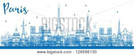 Outline Paris skyline with blue landmarks. Vector illustration. Business and tourism concept with historic buildings. Image for presentation, banner, placard and web site