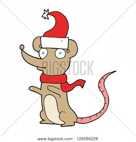 freehand drawn cartoon mouse wearing christmas hat