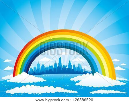 Rainbow and clouds in the blue sky and the city on the horizon.