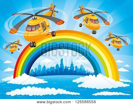 Rainbow, clouds, helicopters in the blue sky and the city on the horizon.