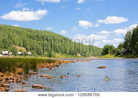 Beautiful Summer Landscape On The River