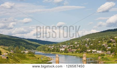 beautiful summer landscape on the river sunny summer day, Russia