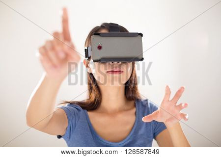 Woman wearing VR device