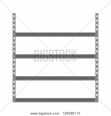 Empty metallic storage shelves. Storage Flat design. Storage Vector illustration. Warehouse storage icon isolated on white background