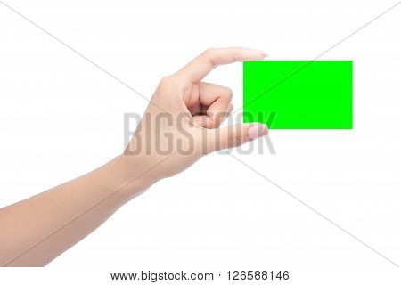 Hands hold business card in green chroma keyisolated Clipping Path