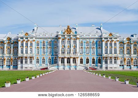 Catherine palace in Pushkin, Russia. summer residence of tsar