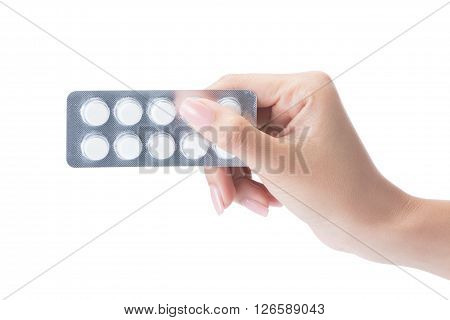 Hand Holding Medical Drugs - Full Silver Leaflet Of White Pills In Common Tablets Shape, Isolated On