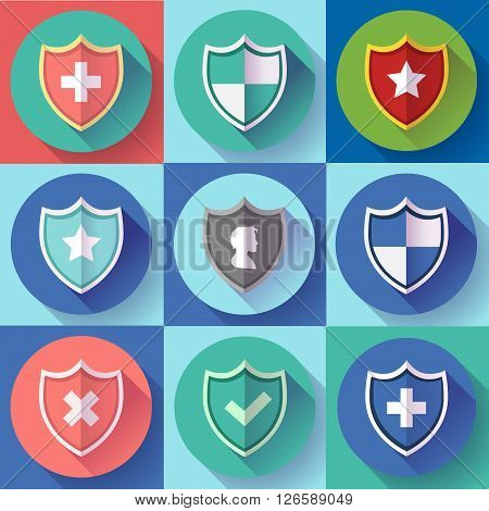 Security shield icon set - protection symbols. Flat design style