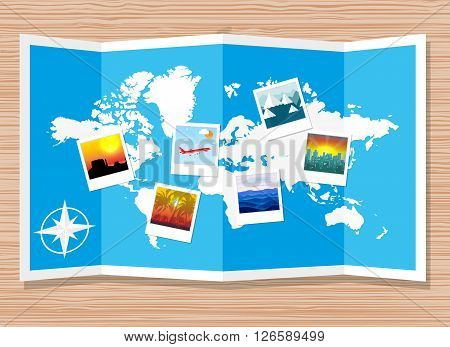 Wooden travellers desk with folded paper map of world and photos. travel and vacation concept. vector illustration in flat design