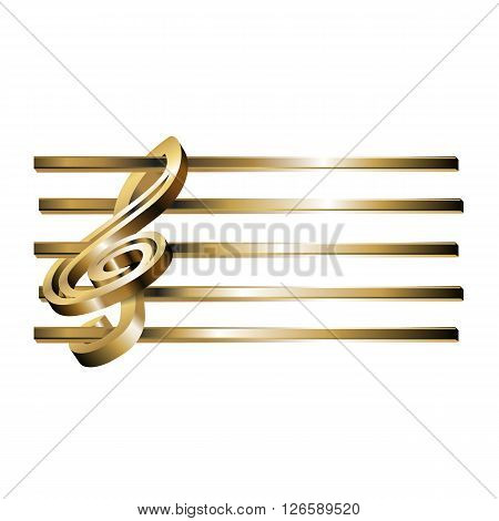 Vector illustration of a gold surround treble clef with an empty golden stave. Isolated object can be used with any text or image.
