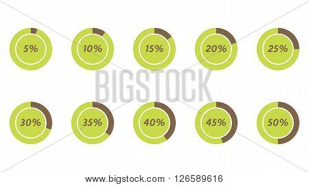 5% 10% 15% 20% 25% 30% 35% 40% 45% 50% green and brown vector pie charts