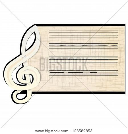 Vector illustration of a white surround treble clef with stave. Isolated object can be used with any text or image.