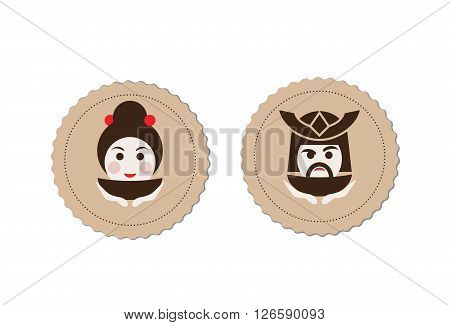 samurai and geisha tea ceremony logo element vector illustration