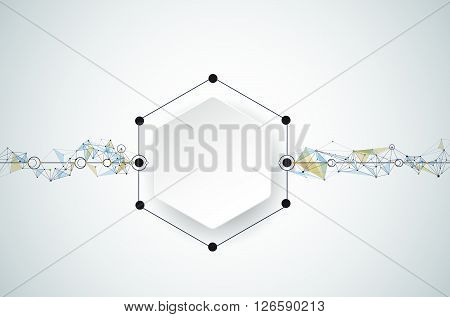 Vector Abstract molecules with 3D paper and Polygonal on light gray color background. 3D paper Hexagon label with space for your content business network and web design. Communication social media technology concept