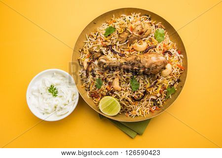 chicken biryani with leg piece, a favourite non veg dish in india