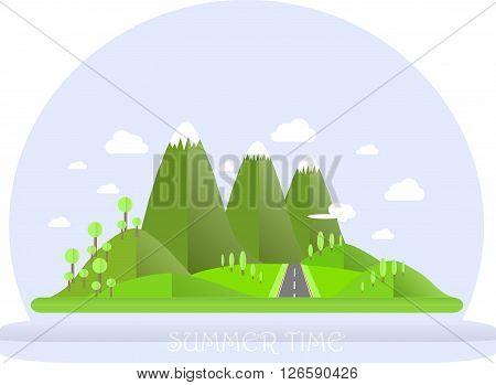 Series four seasons. Mountain landscape, road in summer time. Modern flat design, design element, vector
