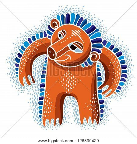 Character monster vector flat illustration cute orange mutant. Drawing of weird beast emotional expression.