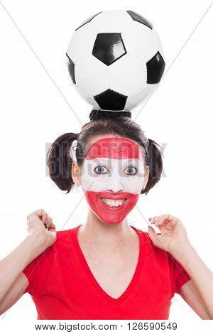 Female Austria Soccer Fan With Ball