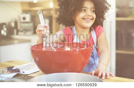 Girl Cooking Bake Bowl Cake Casual Making Concept