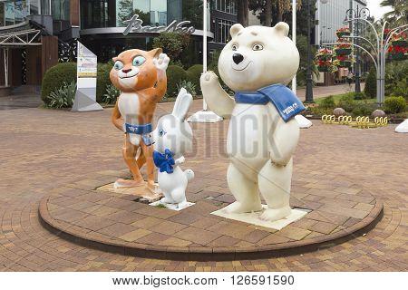 SOCHI, RUSSIA - November 08, 2015: Games 2014 mascots, Bear, hare, leopard (snow leopard). Sochi, Russia