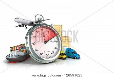 Conceptual background of fast timely delivery 3d illustration