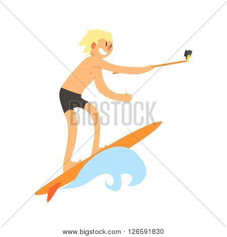 Surfer Taking Selfie Childish Style Flat Vector Drawing On White Background
