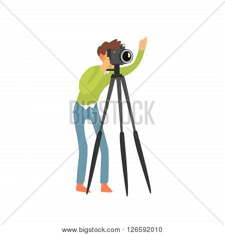 Photographer Taking Photo With Tripod Childish Style Flat Vector Drawing On White Background