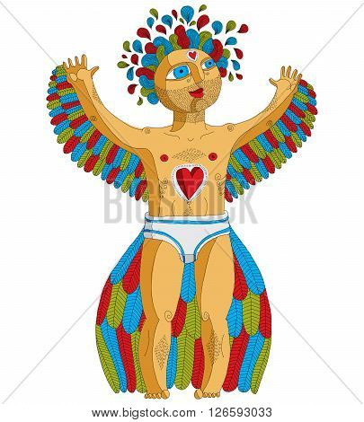 Vector hand drawn graphic illustration of weird creature cartoon nude man with wings animal side of human being. Idol concept artistic allegory drawing.