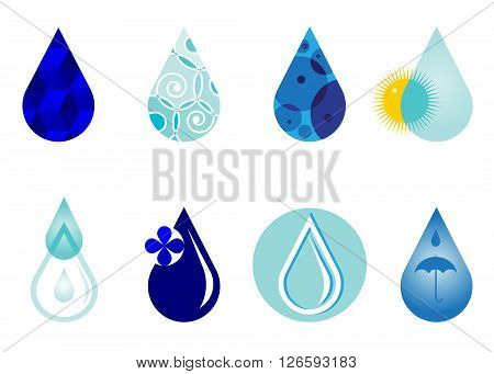 icon water drop. Set of icons of blue color, drop of water of different shades of blue coloring and patterns