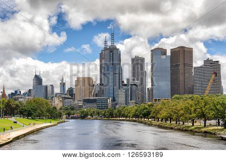 Looking down the Yarra River to the city of Melbourne