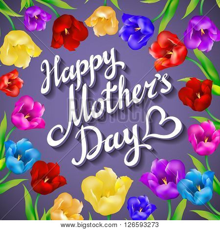 Gift Card For Mother's Day With Spring Flower On Violet Background